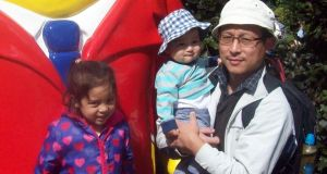 My husband with our daughter, Aarya, and son, Ruhaan