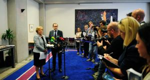 Frances Fitzgerald addresses the media yesterday after publication of the damning report on the Department of Justice. Photograph: Aidan Cawley/The Irish Times