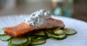 Grilled salmon and cucumber with herbed yoghurt. Photograph: Dara Mac Dónaill
