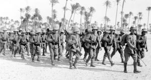 'Let God avert this': Italian infantry march through the desert near Tripoli, Libya, in 1915, during the first World War. Photograph: PA