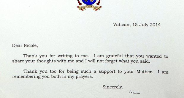 the letter that was sent to nicole kane from pope francis photograph thomas nolan