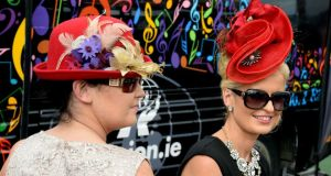 Lorraine and Corinna Hynes from Sligo at the Galway races last evening. Photograph: Cyril Byrne