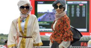 Sema Opad and Amy Opad, from Saudi Arabia at the Galway races last evening. Photograph: Cyril Byrne