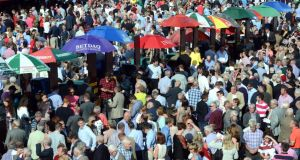 The crowd at Ballybrit Galway races yesterday. Photograph: Cyril Byrne