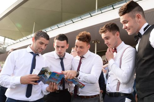 Picking a winner at the Galway races: Johnny Kirby, Tullamore, Niall Rooney, Edenderry, Robert Burge, Mullingar, Shane Heraty Mullingar and Niall O Brien, Boston. Photograph: Cyril Byrne/The Irish Times