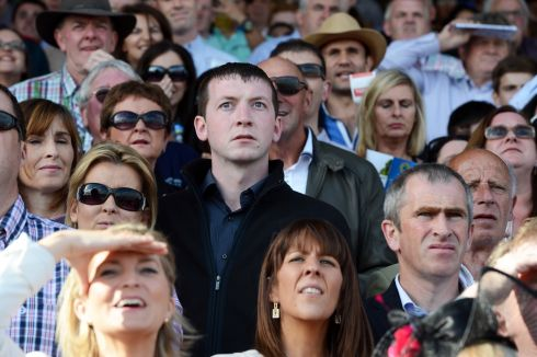 Tension as punters watch the racing. Photograph: Cyril Byrne/The Irish Times