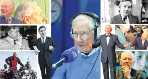 Reeling in the years: the many faces of Uncle Gaybo, including, top left, with his portrait in the National Gallery of Ireland in 2000; bottom left, the motorcycling enthusiast; inset left, on The Late Late Show in 1966; centre, presenting his Lyric FM radio show last year; middle right, shaking hands with Charles Haughey at a surprise party at RTÉ in 1998; and bottom right, as chairman of the Road Safety Authority in 2007