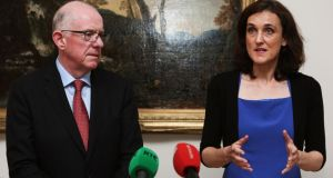 Minister for  Foreign Affairs  Charlie Flanagan with Northern Ireland Secretary of State  Theresa Villiers at Stormont House in  Belfast. Photograph: PA