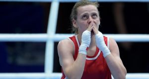 Northern Ireland's Michaela Walsh became the first female Irish boxer to win a medal at the Commonwealth games when she garunteed bronze after beating Jamaica's Sara Joy Ray. Photograph: Tim Ireland/PA