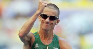 Ireland's Rob Heffernan celebrates as he comes home to win gold at the 14th IAAF World Athletics Championships, Luzhniki Stadium, Moscow.  Photograph: Ian MacNicol / Inpho