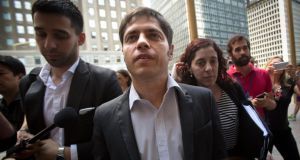 Argentina's economy minister Axel Kicillof arrives at the office of a court-appointed mediator in New York yesterday. Photograph:  Carlo Allegri/Reuters