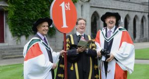 Trainers Jim Bolger (left) and Dermot Weld at by NUI Galway yesterday where honorary doctorates were conferred on them by  Dr Jim Browne, president  of NUIG. Photograph: Cyril Byrne/The Irish Times