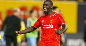 Mamadou Sakho  celebrates after Liverpool defeated Manchester City during the International Champions Cup 2014 at Yankee Stadium, New York. Photograph: Mike Stobe/Getty Images