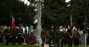 President Michael D Higgins and Prince Edward, Duke of Kent, after laying wreaths at the unveiling of the Cross of Sacrifice at Glasnevin Cemetery in Dublin. Photograph: Brian Lawless/PA Wire