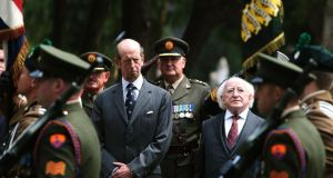 President Michael D Higgins and Prince Edward, Duke of Kent, at the unveiling of the Cross of Sacrifice at Glasnevin Cemetery in Dublin. Photograph: Brian Lawless/PA Wire