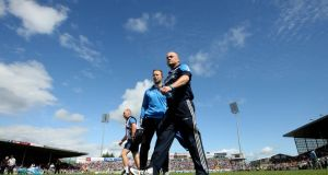 Dublin manager Anthony Daly with selector Shane Martin before the All-Ireland senior hurling championship quarter-final against Tipperary at Semple Stadium, Thurles. Photograph: Inpho