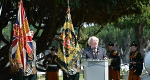 President Michael D Higgins  speaking at the ceremony for the  unveiling of the Monumental Cross of Sacrifice at Glasnevin Cemetery to commemorate the thousands of soldiers from Ireland who died in the first and second World Wars. Photograph:  Alan Betson