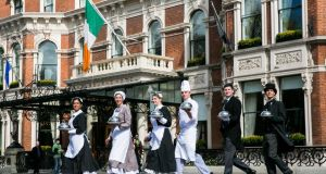Staff marking the 190th anniversary of the Shelbourne Hotel in April of this year.