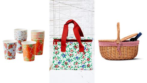 Pack of 8 decorative paper cups, €3.80, Pavilion Garden Centre Rose print lunch bag, €9.00 Urban Outfitters Woven picnic basket €15 Tiger
