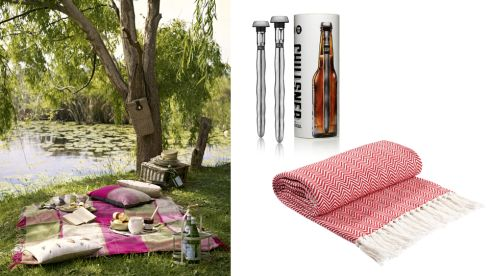Bottle holder €20, 4 artisan side plates €20, Bamboo salad bowl €13, Bamboo platter €13, Maxim milk jug €17, Marks and Spencer Chillsner beer cooler, €29 cuckooland.com Herringbone Throw €26 Littlewoods Ireland