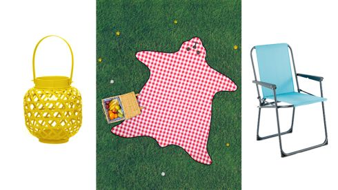 Yellow Lantern, €15.95,  Harvey Norman Bear skin picnic blanket,€32 designist  Blue foldable picnic chair, €16 Littlewoods Ireland