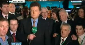 Awesome: squeezing into shot at Fianna Fáil's 2009 ardfheis