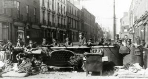 Easter 1916: British troops at a barricade. Photograph: Popperfoto/Getty