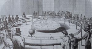 Engraving in 'L'Illustration' of the first pendulum installed in the Panthéon in Paris by Foucault in 1851