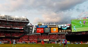 Manchester City and  Liverpool playing in the International Champions Cup  at Yankee Stadium  in New York's  Bronx district on Wednesday. Photograph:  Mike Stobe/Getty Images)