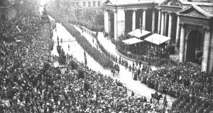Irish troops returning from the Great War march in a Victory Parade, at College Green, Dublin, in 1919. Some boycotted this parade and thereafter the veterans were treated with diffidence, hostility or indifference. Photograph: RTÉ Stills Library/Cashman Collection