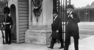 'In Britain the danger posed by the Home Rule crisis meant that Asquith's government didn't properly focus on the real threat of war until over a month after the heir to the Austrian throne Archduke Franz Ferdinand was assassinated in Sarajevo.' Above, John  Redmond and John Dillon leaving Buckingham Palace  after a  Home Rule for Ireland Conference in July, 1914. Photograph: Topical Press Agency/Getty Images