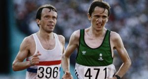 Silver medallist John Treacy leads bronze medal winner Charlie Spedding of Great Britain during the  Marathon event   at the Los Angeles Memorial Coliseum in Los Angeles, California during the 1984 Olympics.  Photo:  Tony Duffy/Getty