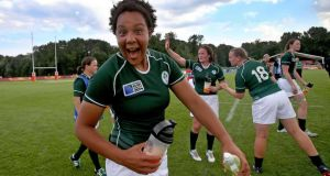 Ireland's Sophie Spence enjoys the moment after her side's bruising World Cup opener against the USA at Marcoussis in Paris. Photograph: Dan Sheridan/Inpho