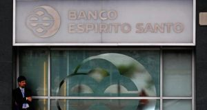 Shares in Banco Espirito Santo sank 40 per cent, adding to its 42 per cent plunge on Thursday when the bank posted a €3.6 billion loss and higher-than-expected provisions to cover its exposure to companies owned by its founding Espirito Santo family. Photograph:  Reuters