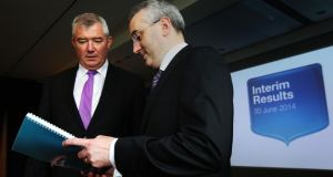 Bank of Ireland chief executive Richie Boucher and chief financial officer Andrew Keating at the announcement of the bank's  interim results. Photograph: Brian Lawless/PA Wire