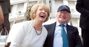 President Higgins with his wife Sabina on an official visit to Festival Interceltique de Lorient, France, and to First World War commemorations in Liege and Mons, Belgium. Photograph: Shane O'Neill