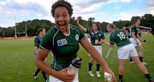 Ireland's Sophie Spence celebrates after victory over the USA in Marcoussis, Paris. Photograph: Dan Sheridan / Inpho