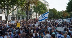 Thousands of people gather in the streets during a pro-Israel rally by the Israeli Embassy in Paris last week. Photograph: EPA/Yoan Valat