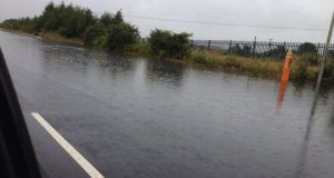 Flooding on the hard shoulder of the M1 today. Photograph: Lee Draven /Twitter