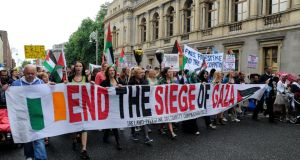 A march protesting the Israeli treatment of Gaza, organised by The Ireland Palestine Solidarity Campaign (IPSC) today, which started at the Garden of Remembrance and finished the Dept of Foreign Affairs on St Stephen's Green. Photograph: Dave Meehan/The Irish Times