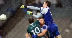 Monaghan goalkeeper Rory Beggan attempts to clear his lines at Croke Park. Photograph: Ryan Byrne/Inpho