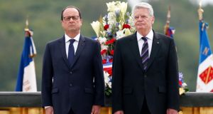 French president Francois Hollande  and German president Joachim Gauck  at the National Monument of Hartmannswillerkopf, in Wattwiller, France. Photograph: Christophe Keraba/EPA