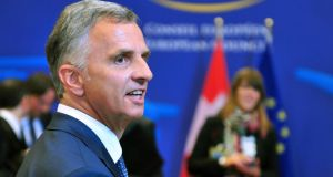 Swiss federal president Didier Burkhalter arrives  at the EU Headquarters in Brussels. Photograph: Georges Gobet/AFP/Getty Images