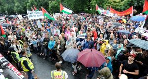 A march protesting the Israeli treatment of Gaza, organised by The Ireland Palestine Solidarity Campaign (IPSC) took place in Dublin yesterday, attracting thousands. Photograph: Dave Meehan/The Irish Times