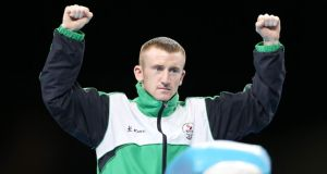 Northern Ireland's Paddy Barnes celebrates winning gold in the light flyweight category at the Commonwealth Games in Glasgow. Photograph: Ian McNicol/Inpho.