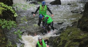 Finding the right balance..Team 'One Track Mind' Sean McDonnell, Caroline Reid, Denis Fletcher and Peter Barry, canyoning in the Clare Glens, Co Tipperary. Photograph: Valerie O'Sullivan