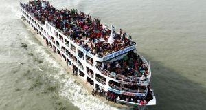 Homebound passengers on a ferry ahead of the Eid al-Fitr festival, in Sadarghat, Dhaka in Bangladesh on July 27th. Millions of city dwellers travel to their villages to celebrate Eid al-Fitr, which marks the end of the Muslim fasting month of Ramadan. Photograph: Abir Abdullah/EPA