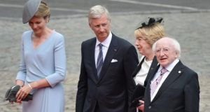 President Michael D Higgins and his wife Sabina (second right) are welcomed by King Philippe of Belgium (2-L) and Queen Mathilde of Belgium (L) as they arrive at the Abbey of St Lawrence to attend the commemoration for the 100th anniversary of the outbreak of the First World War in Liege, Belgium,today.  Photograph: Stephanie Lecocq/EPA