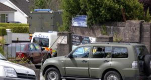 The scene at Togher Garda Station inCork city where Gardaí were forced to evacuate the station to allow an army bomb disposal team make safe a pipe bomb, which was brought to the station by a member of the public in a pram. Photograph: Provision