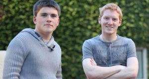 John and Patrick Collison, co-founders of Stripe, outside their offices in Palo Alto, California. Their digital currency will, unlike bitcoin, support traditional currencies such as dollars, sterling and the euro.